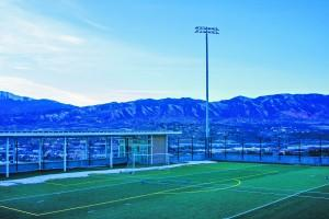 New LED lights look over the Alpine field on the north end of campus.  Rachel Deegan | The Scribe