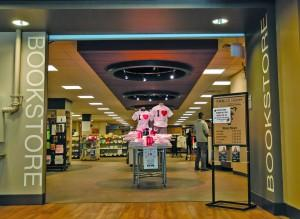 The entrance to the bookstore stands mostly empty on a Friday afternoon. Megan Lunsford   The Scribe