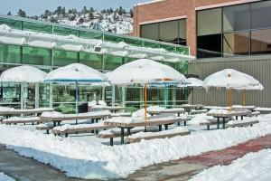The Upper Plaza sits snow covered after two snow days in a row.  Rachael Deegan | The Scribe