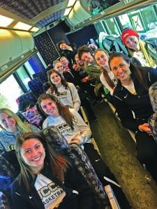 The women's basketball team on their way to Chadron, Nebraska. Taylor Garcia | The Scribe