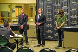 Candidates for Senator of Engineering square off at the SGA debate on March 1. Austin Chasse | The Scribe
