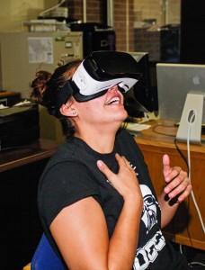 Scribe sports editor Taylor Garcia experiences the virtual world. Megan Lunsford | The Scribe