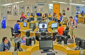 Students complete work in open spaces in the library. Ben Patzer | The Scribe