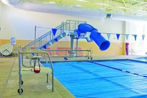 The slide is raised out of the temporarily closed Rec Center pool. Austin Chasse | The Scribe