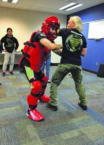 The redman suit is used to demonstrate an attack response. Abbie Stillman | The Scribe