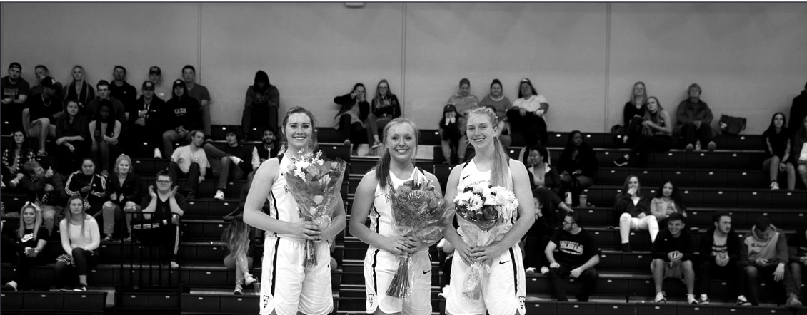 Left to right: seniors Madi Gaibler, Chelsea Pearson and Caley Barnard. (Courtesy of GoMountainLions)